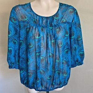 MOSSIMO peacock feather sheer 3/4 blue blouse
